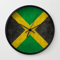 Jamaican flag, Vintage retro style Wall Clock