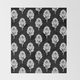 Linocut Protea flower printmaking pattern black and white floral Throw Blanket