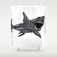 jaws Shower Curtains featuring Jaws by Lauren Moore