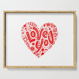 Hand drawn illustration with hand lettering love you heart shaped by julia gosteva Serving Tray
