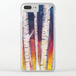 Birch Trees at Dusk Clear iPhone Case