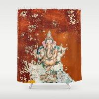 ganesha Shower Curtains featuring GANESHA by I Love Decor
