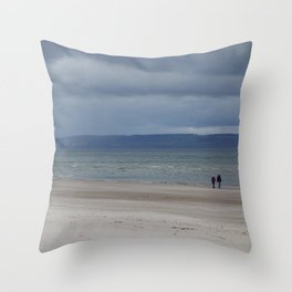 Figures on The Beach at Nairn, Scotland Throw Pillow