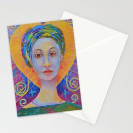Ezili Freda Dahomey Portrait Painting Erzulie Dantor Sister Haitian Voodoo Art Stationery Cards