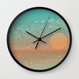 Moonscape: An Orange Circle on a Horizontal Path Floats in Front of a Broken Textural Background Wall Clock