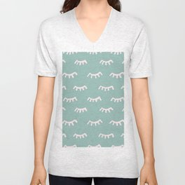 Mint Sleeping Eyes Of Wisdom-Pattern- Mix & Match With Simplicity Of Life Unisex V-Neck