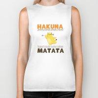 hakuna Biker Tanks featuring Hakuna Matata by Raven Ngo