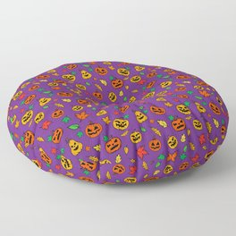 Purple Pumpkin Pattern Print Halloween Floor Pillow