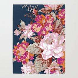 Vintage Floral on Blue Poster