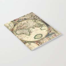 Old map of world hemispheres (enhanced) Notebook