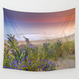 """""""Purple flowers at the sea sunset"""" Wall Tapestry"""