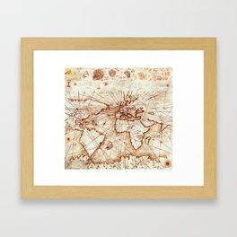 Vintage route map of the world - Leonardo Da Vinci Framed Art Print