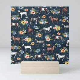Wild Horses, Horse and Floral Print, Navy Blue, Watercolor Painting, Illustrated Horses, Flowers,  Mini Art Print