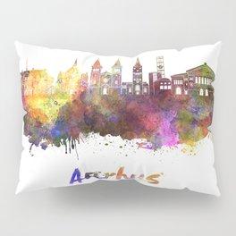 Aarhus skyline in watercolor Pillow Sham