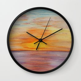 Hawaii Sunset Watercolor Wall Clock