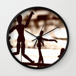 Wooden Puppet Sepia Wall Clock
