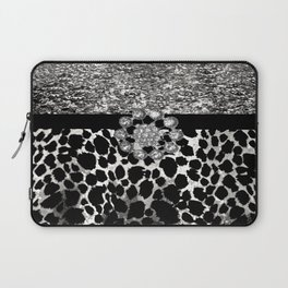 Animal Print Leopard Glam Silver and Black Diamond Laptop Sleeve