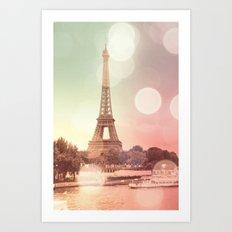 Paris Eiffel Tower Warm Bokeh Art Print