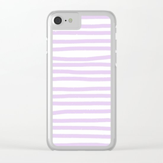 Lilac Stripes Horizontal Clear iPhone Case