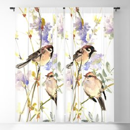 Sparrows and Spring Blossom Blackout Curtain