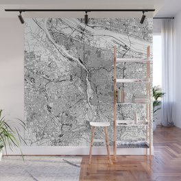 Portland White Map Wall Mural