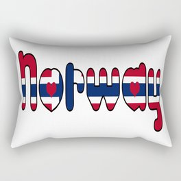 Norway Font with Norwegian Flag Rectangular Pillow