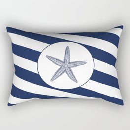 Nautical Starfish Navy Blue & White Stripes Beach Rectangular Pillow