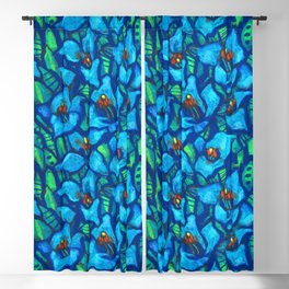 The Blue Puya, Floral Art, Tropic Fowers Blackout Curtain