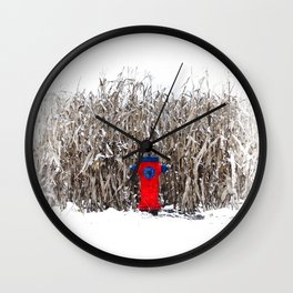 Fire hydrant somewhere (Why there ?) Wall Clock