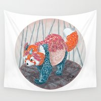red panda Wall Tapestries featuring Red Panda by (TBALL) Teresa Ball