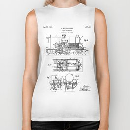 Steam Train Patent - Steam Locomotive Art - Black And White Biker Tank