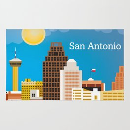 San Antonio, Texas - Skyline Illustration by Loose Petals Rug
