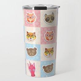 funny animals muzzle owl raccoon unicorn cow bear cat seamless pattern with pink lilac blue Travel Mug