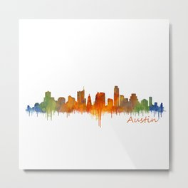 Austin Texas, City Skyline, watercolor  Cityscape Hq v2 Metal Print