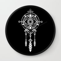 cosmic Wall Clocks featuring Cosmic Dreamcatcher by Picomodi