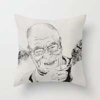 lama Throw Pillows featuring Dalai Lama by RiversAreDeep