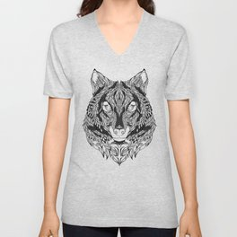 WOLF head. psychedelic / zentangle style Unisex V-Neck