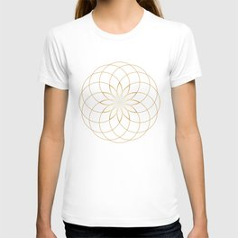 Minimalist Sacred Geometric Circular Flower in Gold and White T-shirt