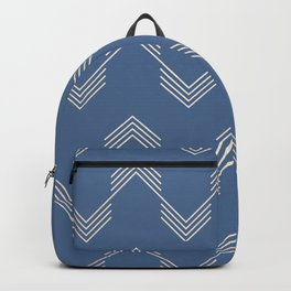 Simply Deconstructed Chevron White Gold Sands  on Aegean Blue Backpack