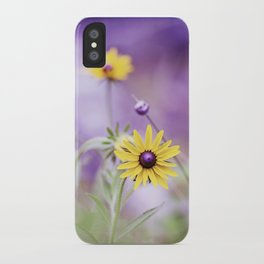 Purple Yellow Flower Photography, Purple Gold Green Nature Art Print, Daisy Floral Photo iPhone Case