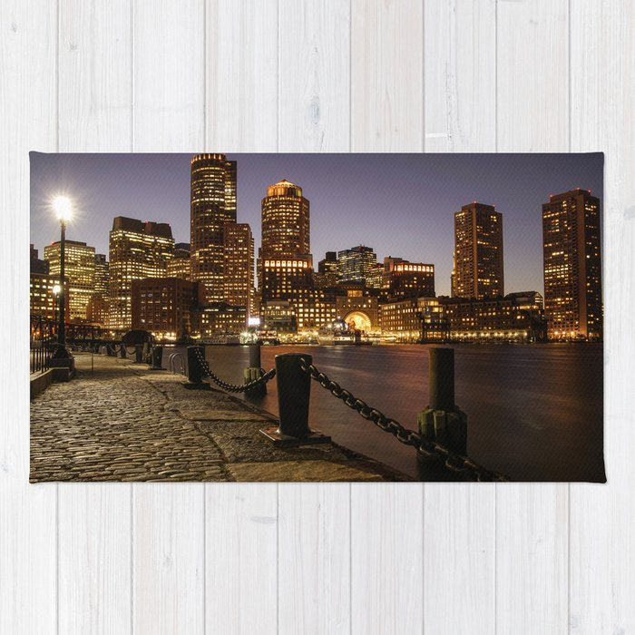 The Lights of Boston pier Rug