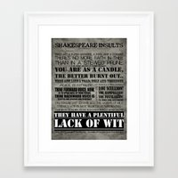 shakespeare Framed Art Prints featuring Shakespeare Insults by EntryPlug