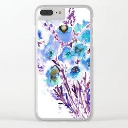 Bouquet Blue Clear iPhone Case