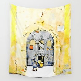 Old woman in courtyard to Tortora Wall Tapestry