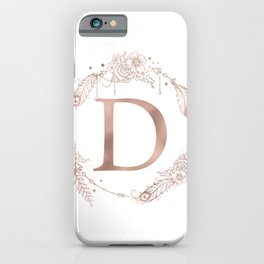 Letter D Rose Gold Pink Initial Monogram iPhone Case