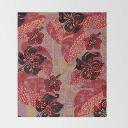 On Fire Kona Tropical Floral Throw Blanket