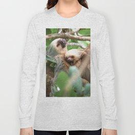 Yawning Baby Sloth - Cahuita Costa Rica Long Sleeve T-shirt