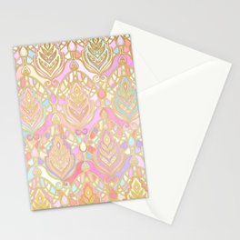 Rosy Opalescent Art Deco Pattern Stationery Cards