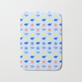 Blue Birds Yellow Stars Pattern Bath Mat