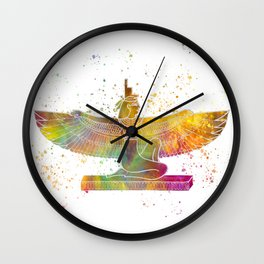 Egyptian goddess isis in watercolor Wall Clock